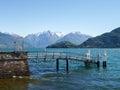 Pier on the lake pianello del lario of como italy Stock Photo