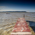 Pier in lake wooden balaton Royalty Free Stock Photography