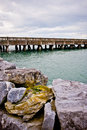 Pier rocky atlantic coast west ireland mountains background Royalty Free Stock Photography