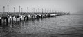 Pier 7 in San Francisco in black and white Royalty Free Stock Photo