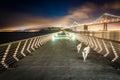 Pier 14 and the San Francisco - Oakland Bay Bridge Royalty Free Stock Photo