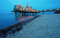 The pier of sellin at dawn on rugia island Royalty Free Stock Photo
