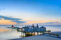 The pier of Sellin at dusk Royalty Free Stock Photo