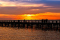 Pier sunset on the in destin florida Royalty Free Stock Photo