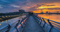 Pier and sunset i a at putrajaya lake malaysia at Royalty Free Stock Photography