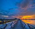 Pier and sunset iv a at putrajaya lake malaysia at Royalty Free Stock Image