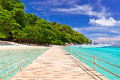 Pier to the tropical island in thailand Royalty Free Stock Photography