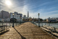 Pier 7 view of Downtown skyline - San Francisco, California, USA Royalty Free Stock Photo