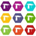 Piercing gun icon set color hexahedron Royalty Free Stock Photo