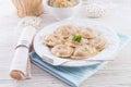 Pierogi meat buckwheat groats Royalty Free Stock Photos