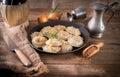 Pierogi meat buckwheat groats Royalty Free Stock Image