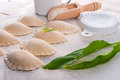 Pierogi with wild garlic filling a Stock Image