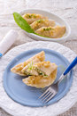 Pierogi with wild garlic filling a Royalty Free Stock Photo