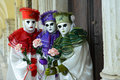Pierrot masked group at venice carnival Royalty Free Stock Images