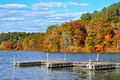 Piers in Lake, Autumn Colors Royalty Free Stock Photo