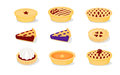 Pies colourful vector icons of américain pastry Royalty Free Stock Images