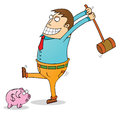 Pig bank robbery illustration of a Stock Images