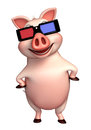 Pig cartoon character with 3D gogal