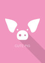pig cartoon face, flat icon design, vector illustration Royalty Free Stock Photo