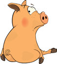 Pig cartoon little lovely pink with the big eyes Stock Image