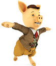 Pig cartoon titanic pose Stock Photo