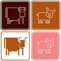 Pig and cow - sign Royalty Free Stock Image