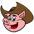 Pig with Cowboy Hat Royalty Free Stock Photo
