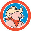 Pig Cowboy Head Circle Cartoon Royalty Free Stock Photo
