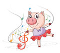 A pig dancing with musical notes illustration of on white background Royalty Free Stock Images