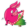 Pig decorating christmas tree. illustration Stock Photos