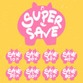 Pig discount sign vector set Stock Photography