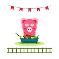 Pig eating food feast funny small vector illustration eps no effects Royalty Free Stock Photo