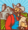 Pig farmer holding piglet barn retro illustration of with facing front with farmhouse building in background done in woodcut style Royalty Free Stock Photography