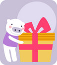 Pig and gift box Stock Images