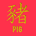 Pig golden chinese zodiac a d gold letter with english word on lucky red background one of the twelve animals in years cycles Stock Photography