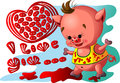 Pig with heart Royalty Free Stock Photos