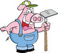 Pig holding a hoe cartoon illustration of in overalls Stock Image