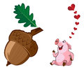 Pig and a large acorn funny Royalty Free Stock Image