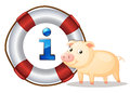 Pig and lifesaver floating Stock Photo