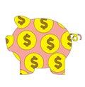 Pig Money Box Bank Coin Isolated Cartoon Vector Flat Illustration Royalty Free Stock Photo