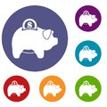 Pig money box icons set Royalty Free Stock Photo