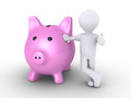 Pig money box and person d a leaning to it Royalty Free Stock Images