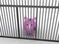 Pig money box in prison d is behind bars Royalty Free Stock Photography