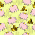 Pig piggy bank, gold coins. Royalty Free Stock Photos