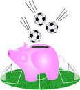 Pig piggy bank, and soccer balls Stock Photos