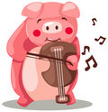 Pig playing violin Stock Photo