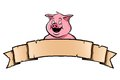 Pig with ribbon banner smiling Stock Photography