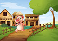 A pig running happily illustration of Royalty Free Stock Image