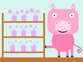 Pig s shop illustration of a selling flowers Royalty Free Stock Images