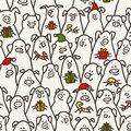Pig seamless pattern. Funny pigs with candy canes, gifts and santa hats. 2019 Chinese New Year symbols. Doodle style